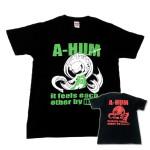 阿吽「ブラック:胸緑×背赤」Tシャツ