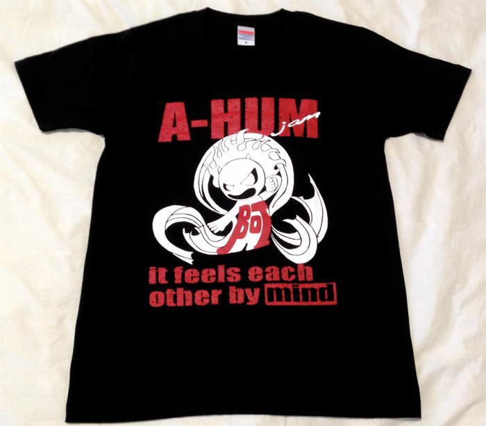 阿吽「ブラック:胸赤×背緑」Tシャツ(胸面)
